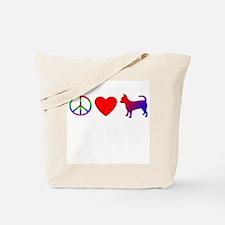 Peace, Love, Chihuahua Tote Bag