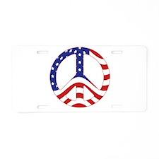 Patriotic Peace Sign Aluminum License Plate