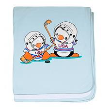 Ice Hockey Penguins baby blanket