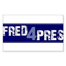 Fred for Pres Blue Rectangle Decal
