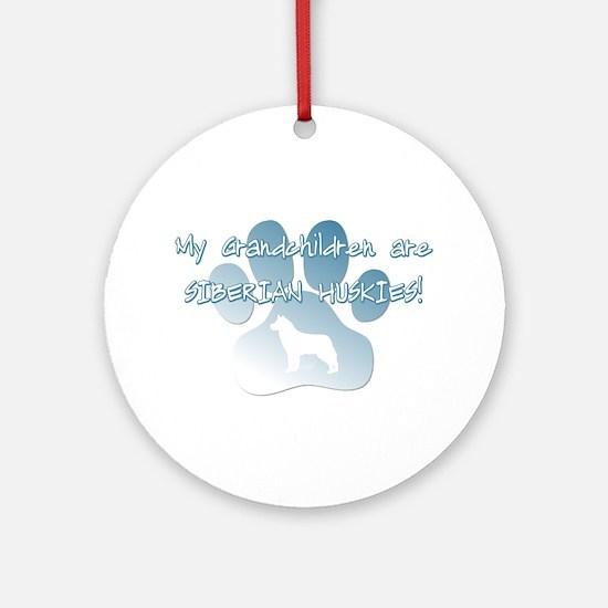 Siberian Husky Grandchildren Ornament (Round)