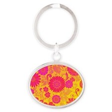 Retro Floral of pink and yellow Keychains