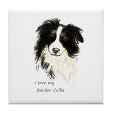 I Love My Border Collie Pet Dog Tile Coaster