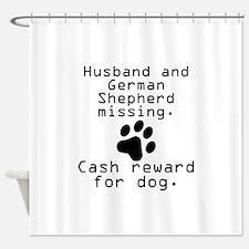 Husband And German Shepherd Missing Shower Curtain