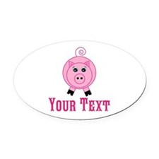 Personalizable Pink Pig Oval Car Magnet