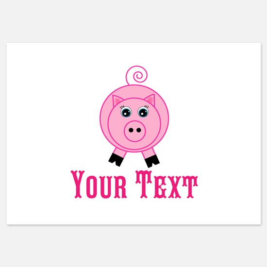 Personalizable Pink Pig Invitations