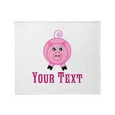 Personalizable Pink Pig Throw Blanket