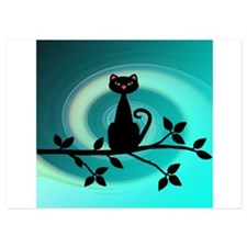 Black Cat on Branch Wave Invitations