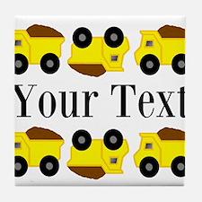 Personalizable Yellow Trucks Tile Coaster