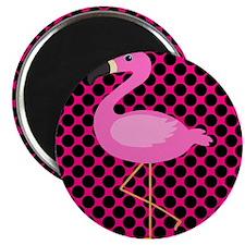 Flamingo Pink Black Magnets