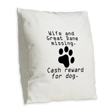 Wife And Great Dane Missing Burlap Throw Pillow