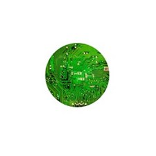 Circuit Board - Green Mini Button