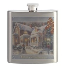 Merry Christmas snowglobe Flask