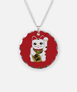 Tri-color Maneki Neko Necklace