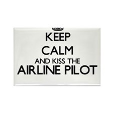 Keep calm and kiss the Airline Pilot Magnets