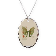 Winged Pi Necklace Oval Charm