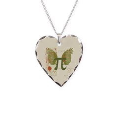 Winged Pi Necklace Heart Charm