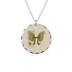 Winged Pi Necklace Circle Charm