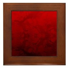 Red Satin Design Framed Tile
