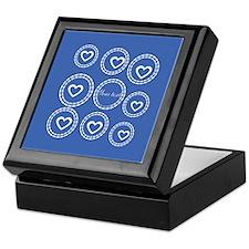 Custom Blue White Hearts Pattern Keepsake Box