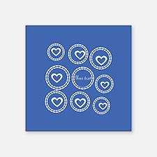 """Bright Blue Hearts Square Sticker 3"""" x 3"""""""