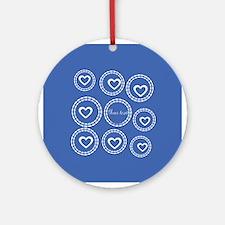 Bright Blue Hearts Round Ornament