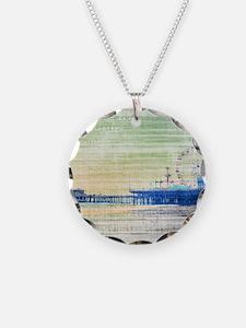 Green Grey Canvas Pier Necklace