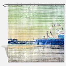 Green Grey Canvas Pier Shower Curtain