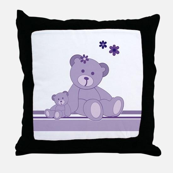 Purple Awareness Bears Throw Pillow