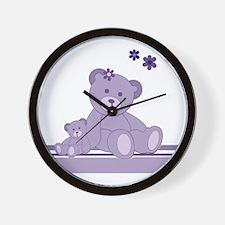 Purple Awareness Bears Wall Clock