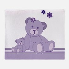 Purple Awareness Bears Throw Blanket