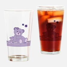 Purple Awareness Bears Drinking Glass