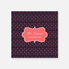 "Grey Coral Personalized Nam Square Sticker 3"" x 3"""
