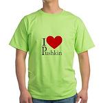 I Love Pushkin Green T-Shirt