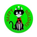 Holiday Kitty Cat Ornament (Round)