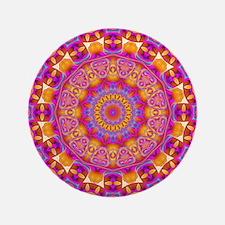 "Trippy Hippy   v6 Geometric Mandala 3.5"" Button"