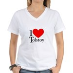 I Love Tolstoy Women's V-Neck T-Shirt