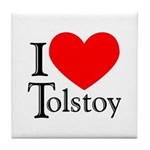 I Love Tolstoy Tile Coaster