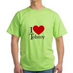 I Love Tolstoy Green T-Shirt