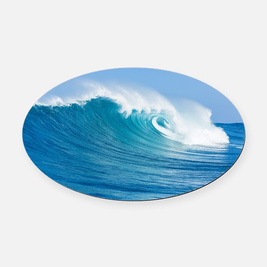 Blue Wave Oval Car Magnet