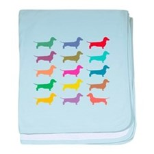 Colorful Dachshunds baby blanket