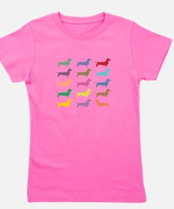 Colorful Dachshunds Girl's Tee