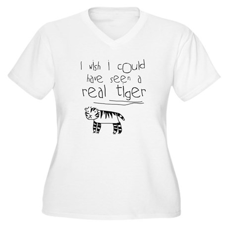 No More Tigers Women's Plus Size V-Neck T-Shirt
