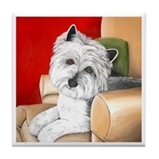 Westie On A Chair Tile Coaster