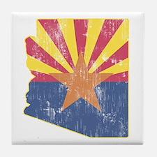 Vintage Arizona State Outline Flag Tile Coaster