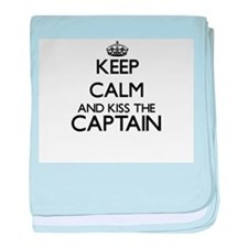 Keep calm and kiss the Captain baby blanket