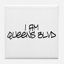 I am Queens Blvd 4 - Blk Tile Coaster
