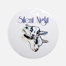 Silent Night Baby Pygmy Goats Ornament (Round)