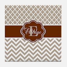 Tan Brown Quatrefoil Chevron Personalized Tile Coa
