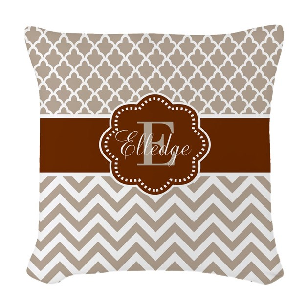 Tan brown quatrefoil chevron personalized woven th by for Kitchen colors with white cabinets with monogram stickers for cups